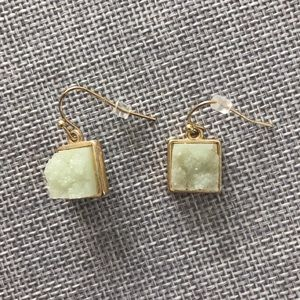 Mint Green & Gold Square Earrings